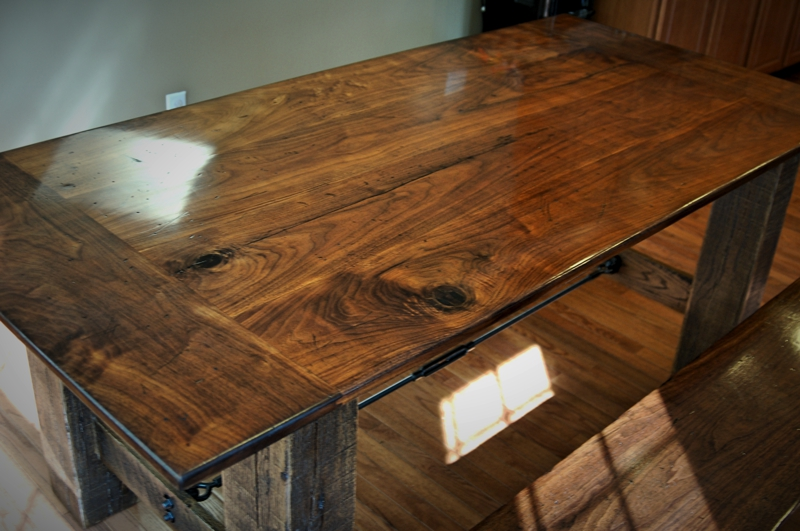 Reclaimed Walnut amp Oak Farmhouse Table CZ Woodworking