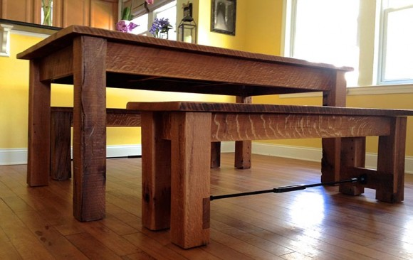 Reclaimed Oak Dining Table & Benches
