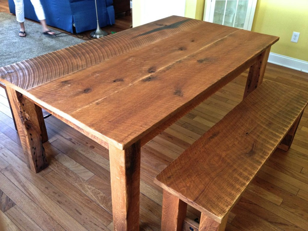 Reclaimed Oak Dining Table Amp Benches Cz Woodworking