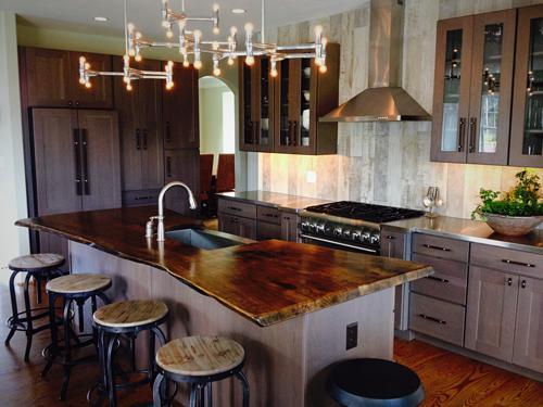Walnut countertop cz woodworking for Live edge kitchen island