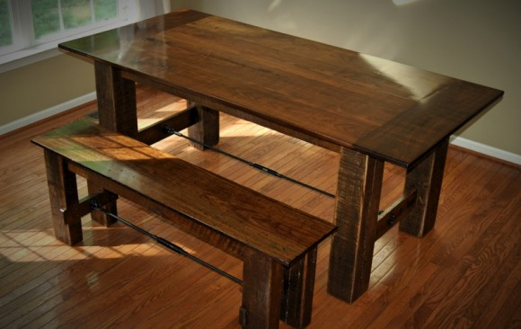 Reclaimed Walnut & Oak Farmhouse Table